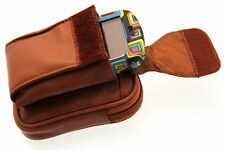 Genuine Leather Pouch Cell Phone Pocket Velcro Closed Belt Loop Men Women New