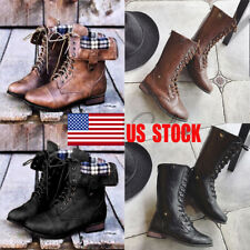 UK Women Winter Zipper Combat Snow Mid Calf Boots Lace Up Punk Anckle Shoes Size