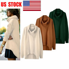 US Women's Long Sleeve Loose Pullover Top Casual Sweater High Neck Coat Outwear