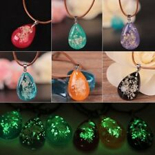 Fashion Glow In The Dark Dried Flower Pendant Necklace Jewelry Party Gift New