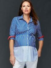 Gap Maternity NWT Blue White Striped Tie Belt Shirt Blouse Top Small $50