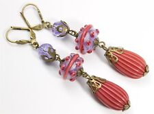 Vintage Ornate Venetian Murano Lampwork & Fluted Art Glass Bead Drop Earrings