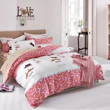 Lovely red with simple gentleman pattern 4PC bed set Queen Size Cotton