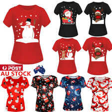 AU Women Christmas Xmas Snowman Short Sleeve Tee Shirt Party Casual Blouse Tops