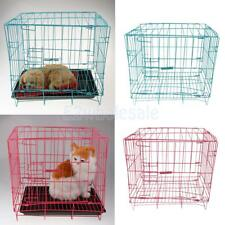 Foldable Folding Dog Cat Crate Cage Metal Steel Kennel Carrier with Plastic Pan