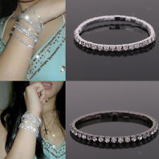 Charm Women Bracelet Black Silver Crystal Rhinestone Bangle Jewelry Stretch