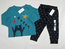 NWT Boys Baby Gap Size 6 12 Months Happy Bear Shirt Top Navy Face Blue Pants