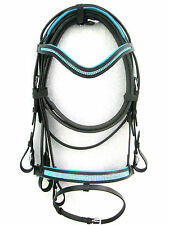 Dressage leather bridle BLUE diamonte comfort poll flash noseband black FULL&COB