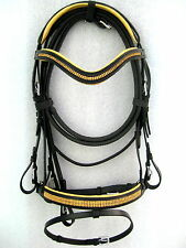Dressage leather bridle Golden diamonte on brow/nose comfort poll black FULL&COB