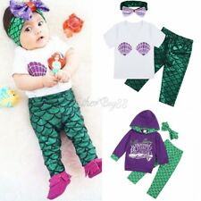Baby Girls T-shirt Tops+Mermaid Leggings Pants 2pcs Outfits Clothes Set Costume