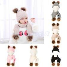 Newborn Baby Scarf Hat Set Kid Winter Warm Double Fur Pom Bobble Knit Beanie Cap