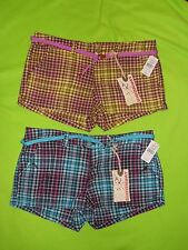 New~ Union Bay Shortie Shorts ~ Turquoise or Purple Plaid~ Jr Size 13 - ORIG $32