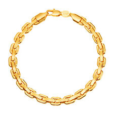 U7 Cool Cable Chain Bracelet Bangle 18K Gold Plated Fashion Men Jewelry 6MM
