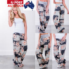 AU Womens Floral Long Pants Baggy Loose Wide Leg Summer Casual Yoga Trousers