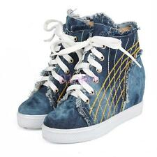 Fashion Autumn Women Denim High Top Sneakers Mid Hidden Wedge Heel Lace Up Shoes