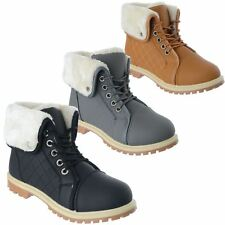 LADIES WOMENS WINTER FUR LINED ARMY MILITARY COMBAT BIKER ANKLE BOOTS SHOES SIZE