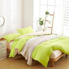 Simple Fresh Green And Off-White Colour 4PC Bed Set Queen/King/Single Size