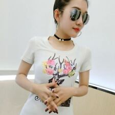 New Fashion Lower Summer Style Cotton O Neck Short Sleeved Women T-shirt