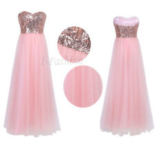 UK Womens Ladies Wedding Bridesmaid Long Sequin Cocktail Ballgown Evening Dress