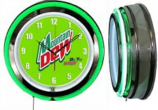 "19"" Double Neon Clock Mountain Dew Do the Dew Chrome Finish"