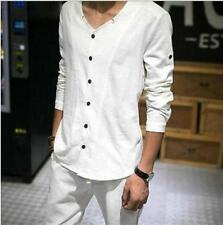 US Sz Chinese Mens Long Sleeve V Collar Cotton Linen Casual Shirts Button Front