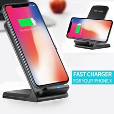 Wireless QI Fast Charger Charging 2-Coils Dock Stand Holder For iPhone X 8 Plus