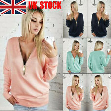UK Ladies Deep V Top Long Sleeve Sweatshirt Zip Up Jumper Pullover Winter Blouse