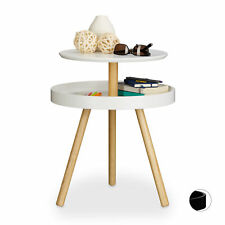 Round Side Table with Shelf in White and Black, Wooden, 3-Legs, Accent Table