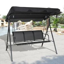 3 Person Outdoor Patio Hammock Canopy Glider Porch Swing Bench Chair Seat Stool