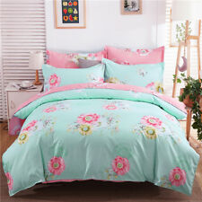 Bright Blue-Green And Pink With Lovely Colorful Flower Pattern 4PC Bed Set