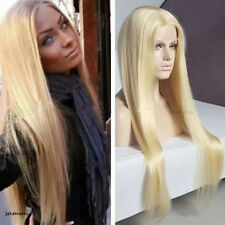 Sexy Ladies Blonde Human Hair Wigs 100% Real Lace Front Full Wig Part Free US gh