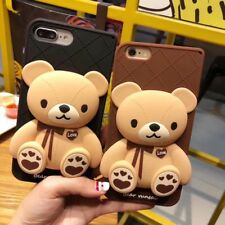 Cute 3D cartoon Bow Teddy bear silicone soft case Cover for iPhone X 8 7 6S Plus