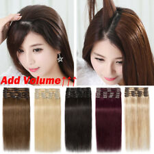 THICK Clip in 100% Human Remy Hair Extensions Full Head Any Color Free P&P P763