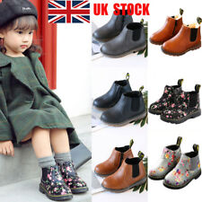 UK Kids Boys Girls Floral Plain Snow Ankle Winter Boots Casual Warm Shoes Size