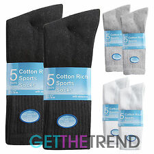 10 Pairs Mens Sports Socks Blend Cotton Black White Plain Footwear Ankle Grey