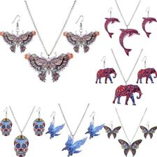 Print Pattern Butterfly Pendant Necklace Earring Women Jewelry Sets Xmas Party