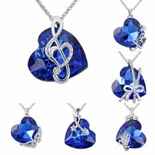 Valentines Heart Sapphire Crystal Silver Chain Pendant Necklace Jewelry Gift New