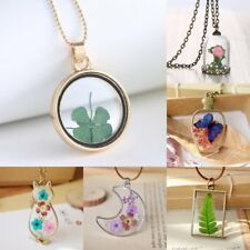 Natural Real Flower Butterfly Glass Wish Bottle Chain Pendant Necklace Jewelry