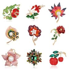 Fashion Rhinestone Crystal Women Ladybug Flower Brooch Pin Jewelry Party Gifts