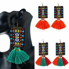 Fashion Retro China Style Tassel Thread Drop Dangle Hook Earrings Woman Jewelry