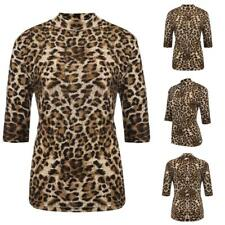 Women's Stand Collar Half Sleeve Leopard Casual Slim Fit T-Shirt Plus W3LE