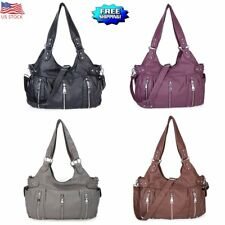 Women's Lady Handbag Large Shoulder Tote Washed PU Leather Bag Hobo Soft Casual