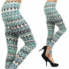S M L Leggings Chevron Zig Zag Blue Teal Colorful Skinny Pants Stretch New