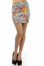Skirt Mini Floral Leopard Animal Print S M L Orange Pink Foldover Waist New