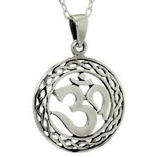Om Round Pendant ~ 925 Sterling Silver ~ Ohm Yoga Aum Necklace Cable Chain NEW