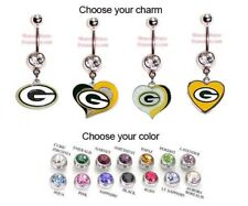 NFL GREEN BAY PACKERS AUTHENTIC LOGO CHARM DANGLE NAVEL BELLY BUTTON RING!