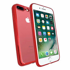 APPLE IPHONE 7 PLUS RED ULTRA THIN METALLIC CHROME TPU SILICONE GEL CASE COVER