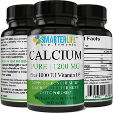 Calcium Pure 1200 MG Plus 1000 IU Vitamin D3 Non-GMO Calcium Pill joint Health