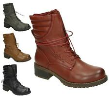 Ladies Womens Girls Flat Army Combat Biker Lace Up Military Ankle Boots Size New