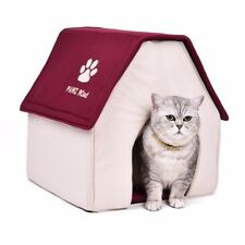 Portable puppy dog kennel cave nest igloo pad cozy cushion pet dog cat bed house